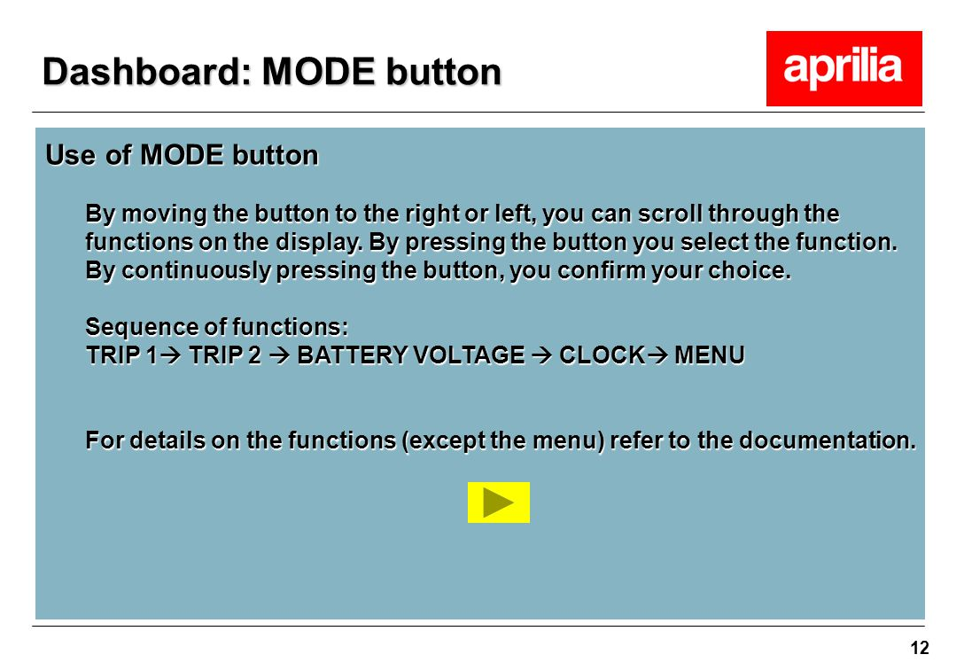 12 Use of MODE button By moving the button to the right or left, you can scroll through the functions on the display. By pressing the button you selec