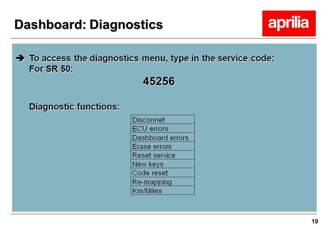 19  To access the diagnostics menu, type in the service code: For SR 50: 45256 Diagnostic functions: Dashboard: Diagnostics