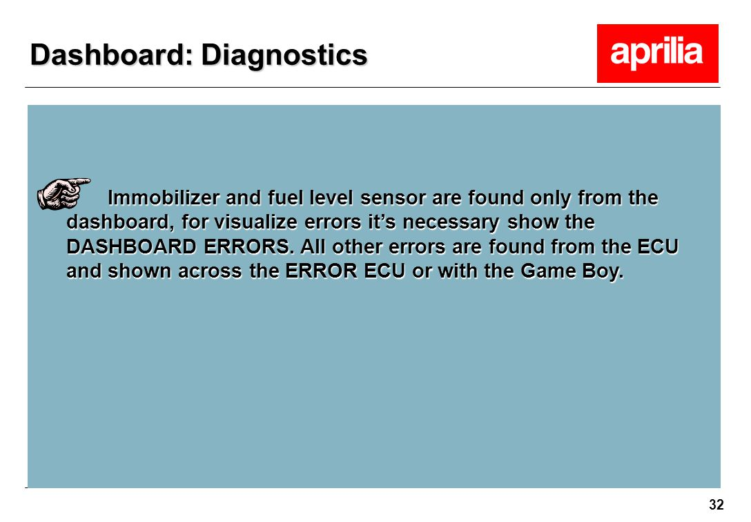 32 Immobilizer and fuel level sensor are found only from the dashboard, for visualize errors it's necessary show the DASHBOARD ERRORS. All other error