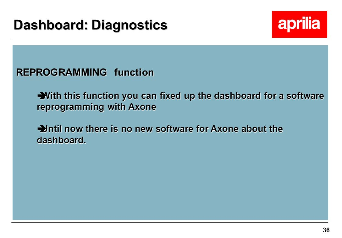 36 REPROGRAMMING function  With this function you can fixed up the dashboard for a software reprogramming with Axone  Until now there is no new soft