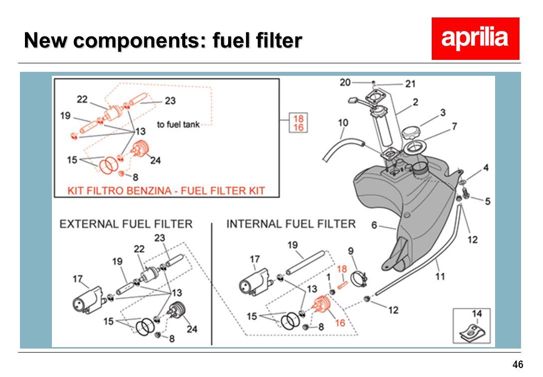 46 New components: fuel filter