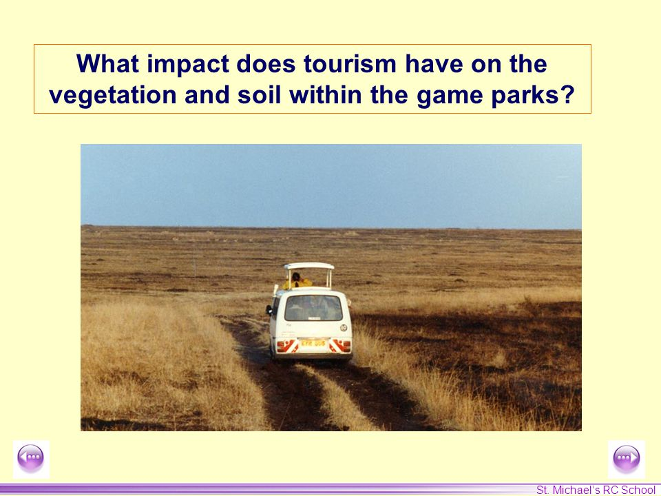 St. Michael's RC School What impact does tourism have on the vegetation and soil within the game parks?