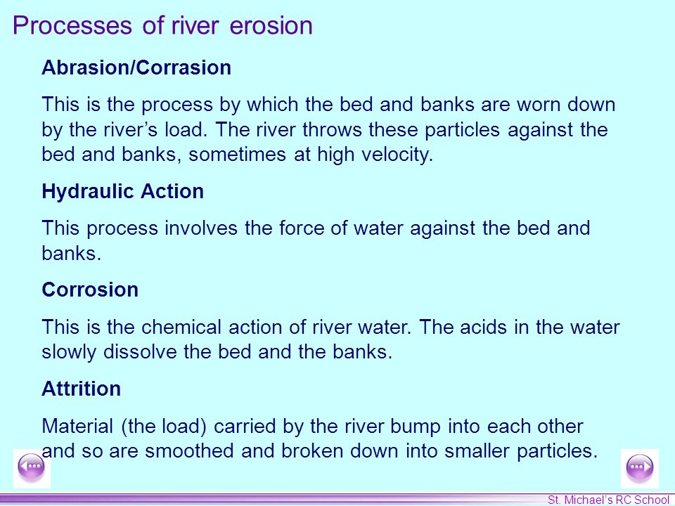 St. Michael's RC School Abrasion/Corrasion This is the process by which the bed and banks are worn down by the river's load. The river throws these pa