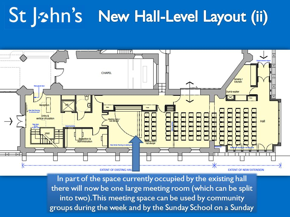 In part of the space currently occupied by the existing hall there will now be one large meeting room (which can be split into two).