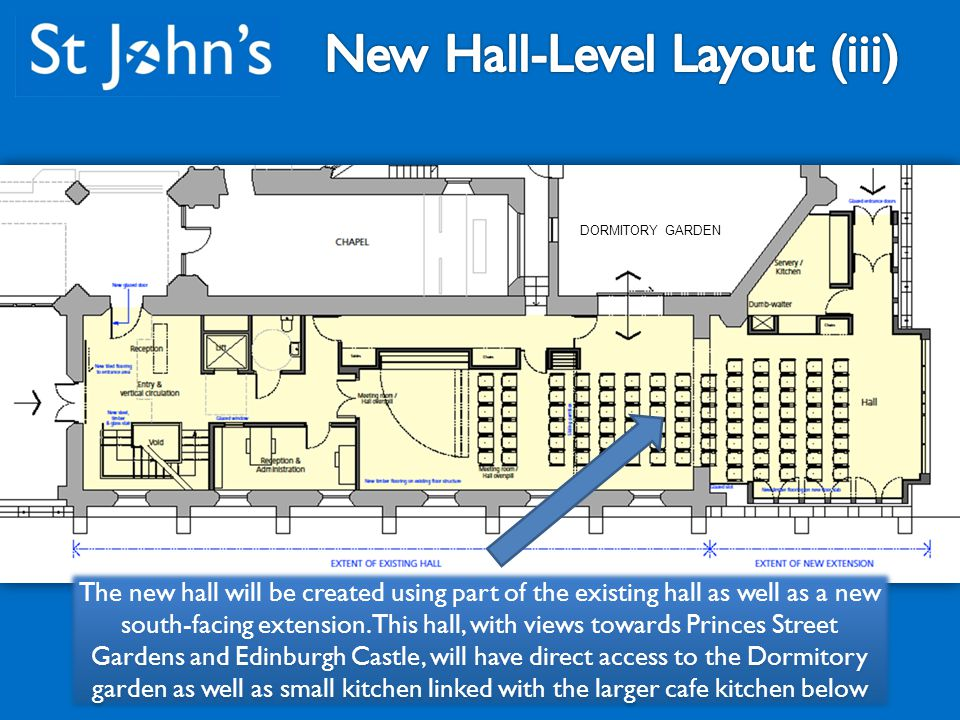 The new hall will be created using part of the existing hall as well as a new south-facing extension.