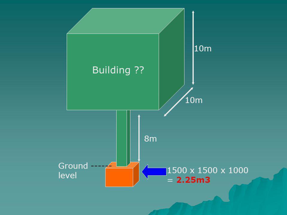 10m 8m 1500 x 1500 x 1000 = 2.25m3 Ground ------ level Building