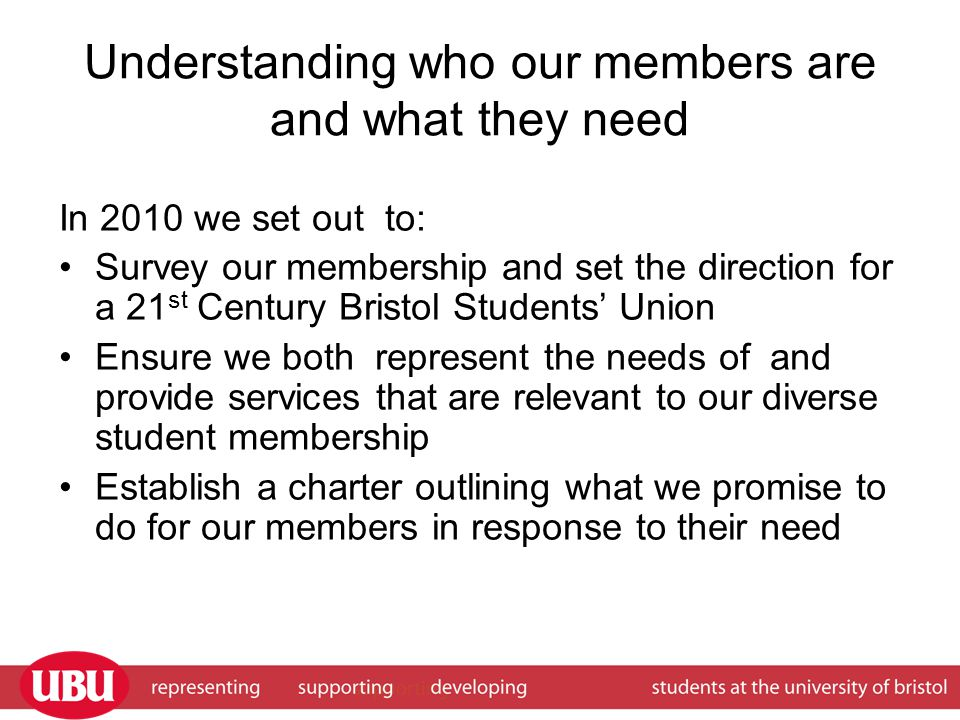 Understanding who our members are and what they need In 2010 we set out to: Survey our membership and set the direction for a 21 st Century Bristol Students' Union Ensure we both represent the needs of and provide services that are relevant to our diverse student membership Establish a charter outlining what we promise to do for our members in response to their need