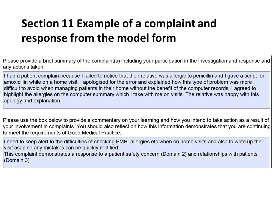 Section 11 Example of a complaint and response from the model form