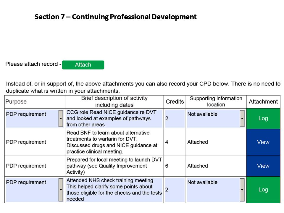 Section 7 – Continuing Professional Development