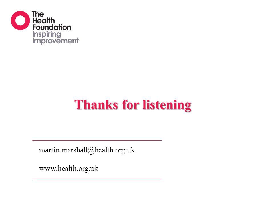 Thanks for listening martin.marshall@health.org.uk www.health.org.uk