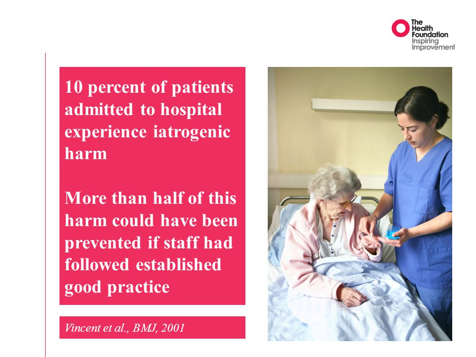 10 percent of patients admitted to hospital experience iatrogenic harm More than half of this harm could have been prevented if staff had followed established good practice Vincent et al., BMJ, 2001