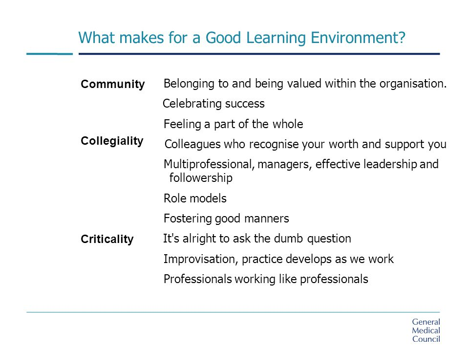What makes for a Good Learning Environment. Belonging to and being valued within the organisation.