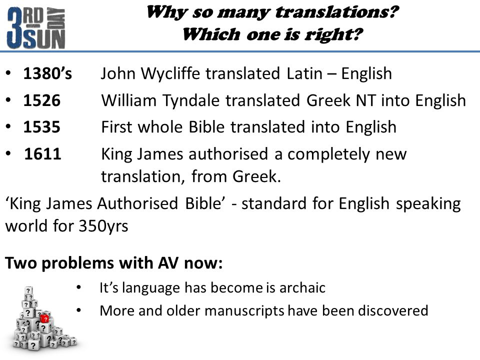 1380'sJohn Wycliffe translated Latin – English 1526 William Tyndale translated Greek NT into English 1535 First whole Bible translated into English 1611 King James authorised a completely new translation, from Greek.