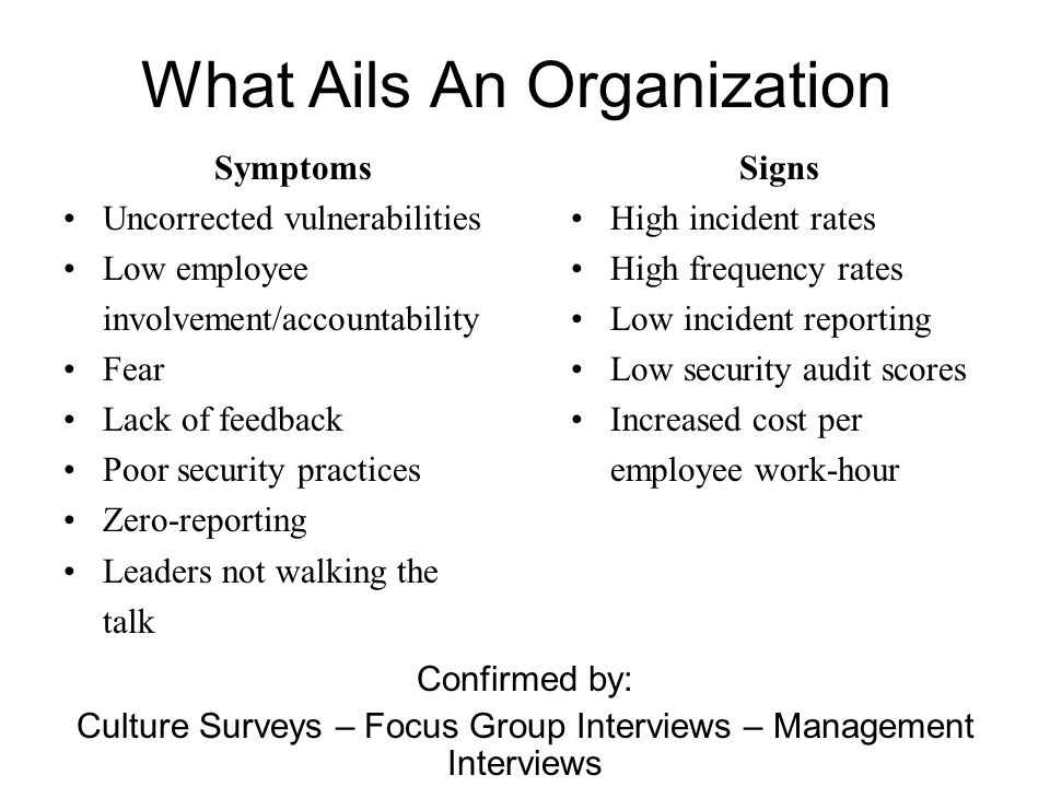 What Ails An Organization Symptoms Uncorrected vulnerabilities Low employee involvement/accountability Fear Lack of feedback Poor security practices Z