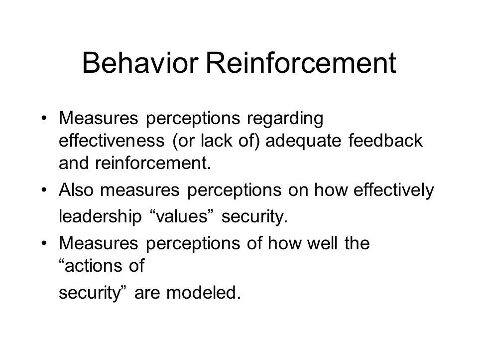 Behavior Reinforcement Measures perceptions regarding effectiveness (or lack of) adequate feedback and reinforcement.