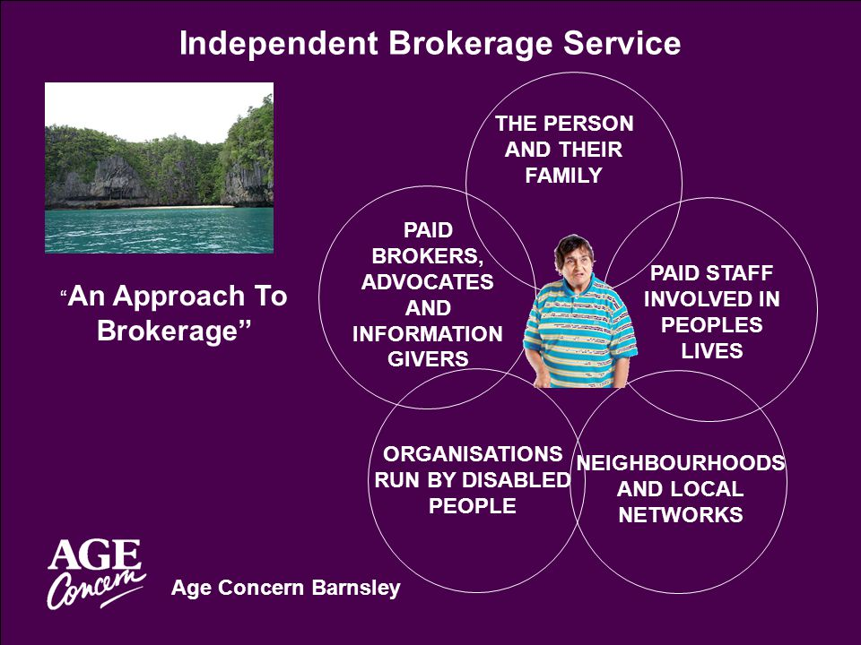 Age Concern Barnsley Independent Brokerage Service An Approach To Brokerage THE PERSON AND THEIR FAMILY PAID BROKERS, ADVOCATES AND INFORMATION GIVERS PAID STAFF INVOLVED IN PEOPLES LIVES ORGANISATIONS RUN BY DISABLED PEOPLE NEIGHBOURHOODS AND LOCAL NETWORKS