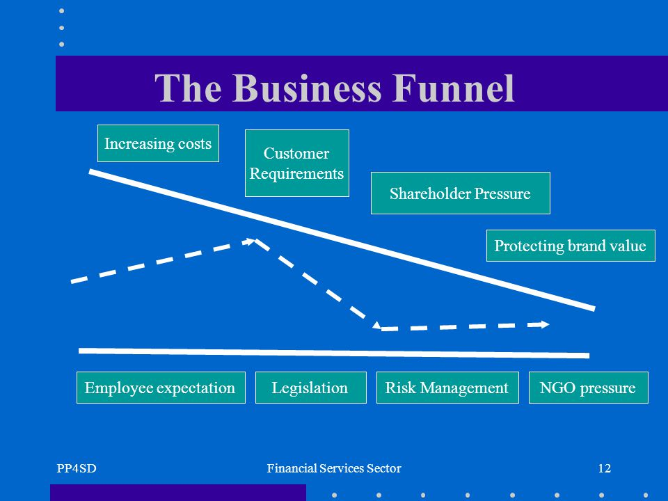 PP4SDFinancial Services Sector12 The Business Funnel Legislation Shareholder Pressure Increasing costs Employee expectation Customer Requirements Risk Management Protecting brand value NGO pressure