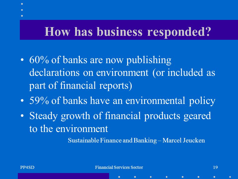 PP4SDFinancial Services Sector19 How has business responded.