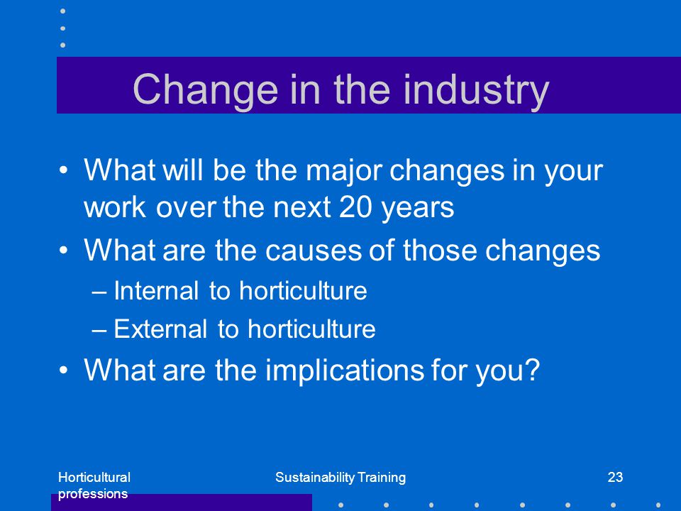 Horticultural professions Sustainability Training23 Change in the industry What will be the major changes in your work over the next 20 years What are the causes of those changes –Internal to horticulture –External to horticulture What are the implications for you