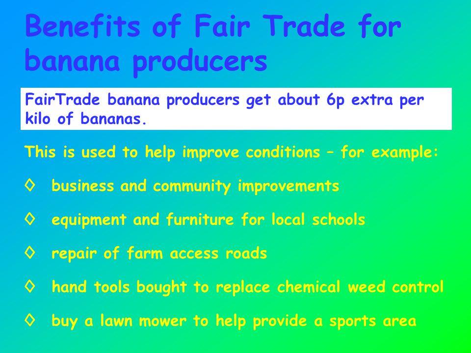 FairTrade banana producers get about 6p extra per kilo of bananas.