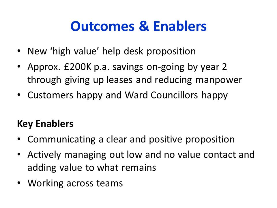 Outcomes & Enablers New 'high value' help desk proposition Approx.