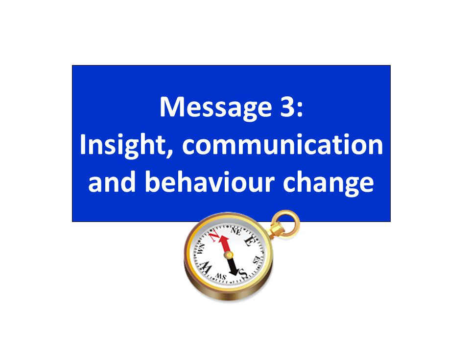 Message 3: Insight, communication and behaviour change
