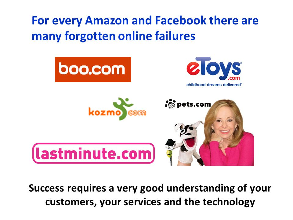 For every Amazon and Facebook there are many forgotten online failures Success requires a very good understanding of your customers, your services and