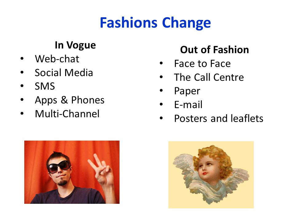 Fashions Change In Vogue Web-chat Social Media SMS Apps & Phones Multi-Channel Out of Fashion Face to Face The Call Centre Paper E-mail Posters and le