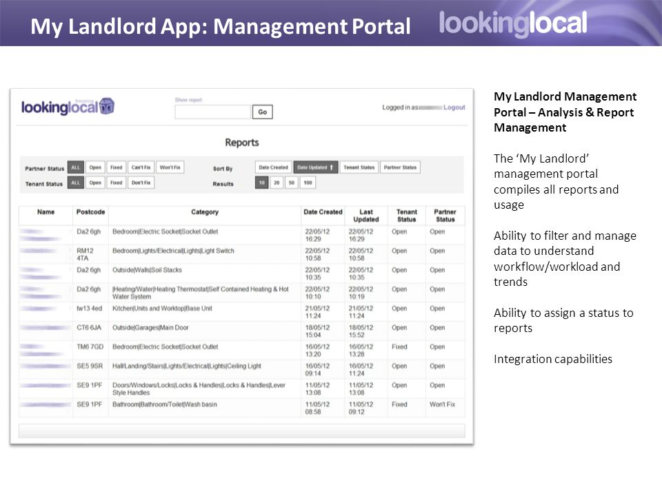 My Landlord App: Management Portal My Landlord Management Portal – Analysis & Report Management The 'My Landlord' management portal compiles all reports and usage Ability to filter and manage data to understand workflow/workload and trends Ability to assign a status to reports Integration capabilities