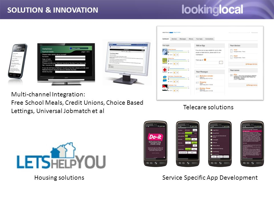 It is… SOLUTION & INNOVATION Telecare solutions Service Specific App Development Multi-channel Integration: Free School Meals, Credit Unions, Choice Based Lettings, Universal Jobmatch et al Housing solutions