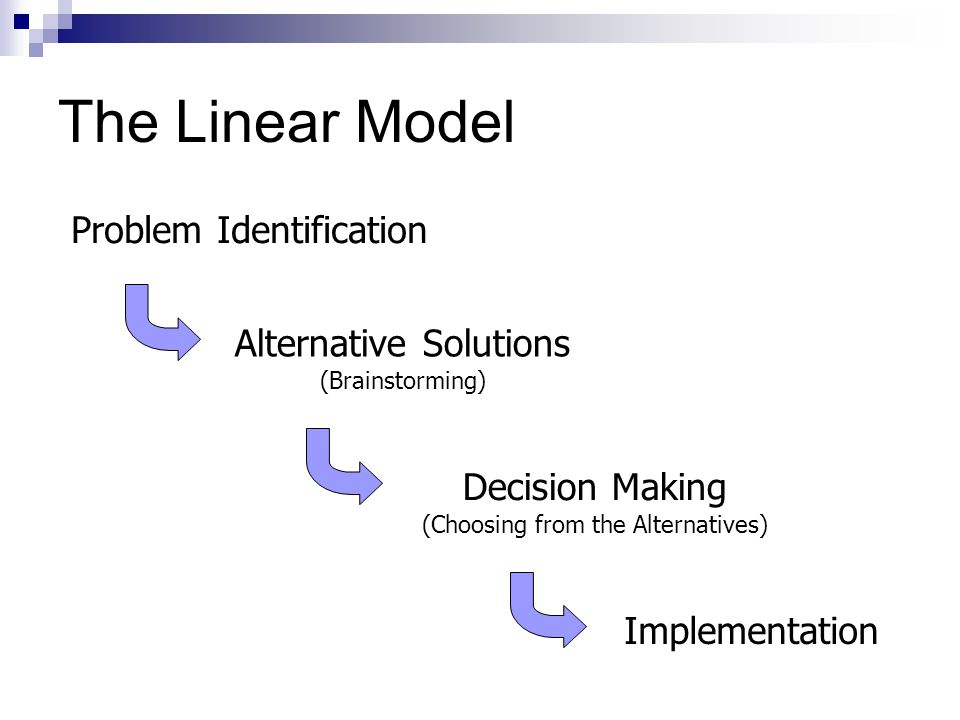 The Linear Model Problem Identification Alternative Solutions (Brainstorming) Decision Making (Choosing from the Alternatives) Implementation