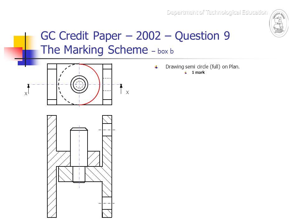GC Credit Paper – 2002 – Question 9 The Marking Scheme – box b X X Drawing semi circle (full) on Plan. 1 mark
