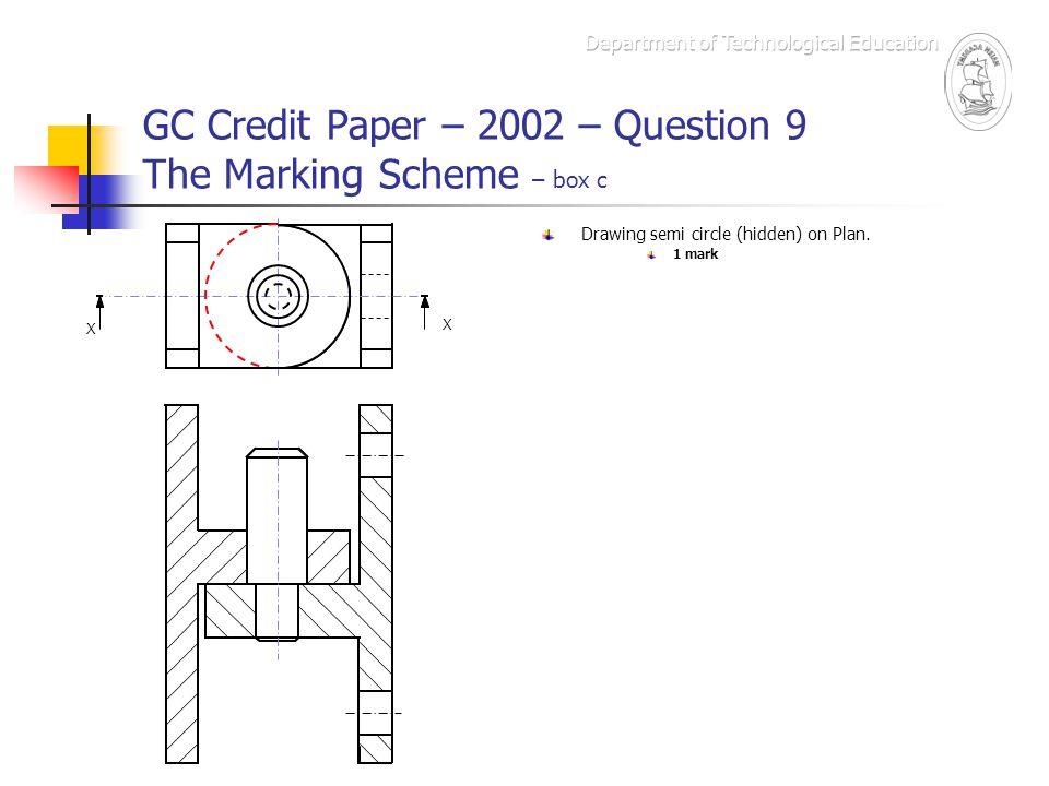 GC Credit Paper – 2002 – Question 9 The Marking Scheme – box c X X Drawing semi circle (hidden) on Plan. 1 mark