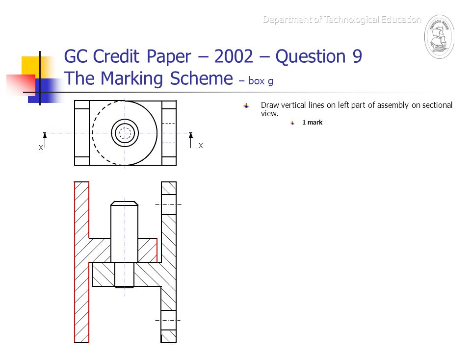 GC Credit Paper – 2002 – Question 9 The Marking Scheme – box g X X Draw vertical lines on left part of assembly on sectional view. 1 mark