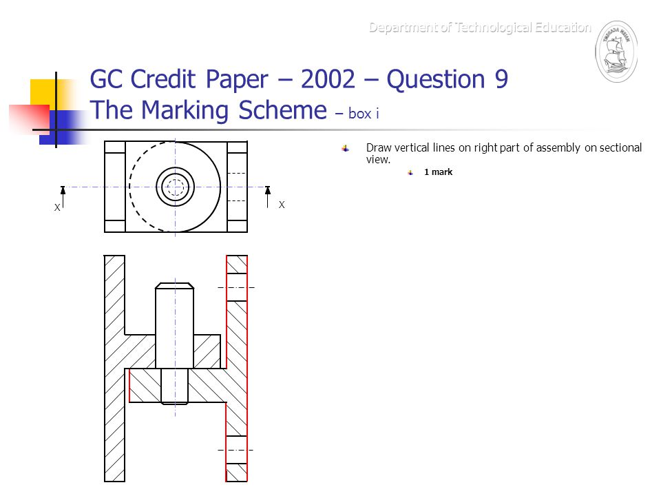 GC Credit Paper – 2002 – Question 9 The Marking Scheme – box i X X Draw vertical lines on right part of assembly on sectional view. 1 mark