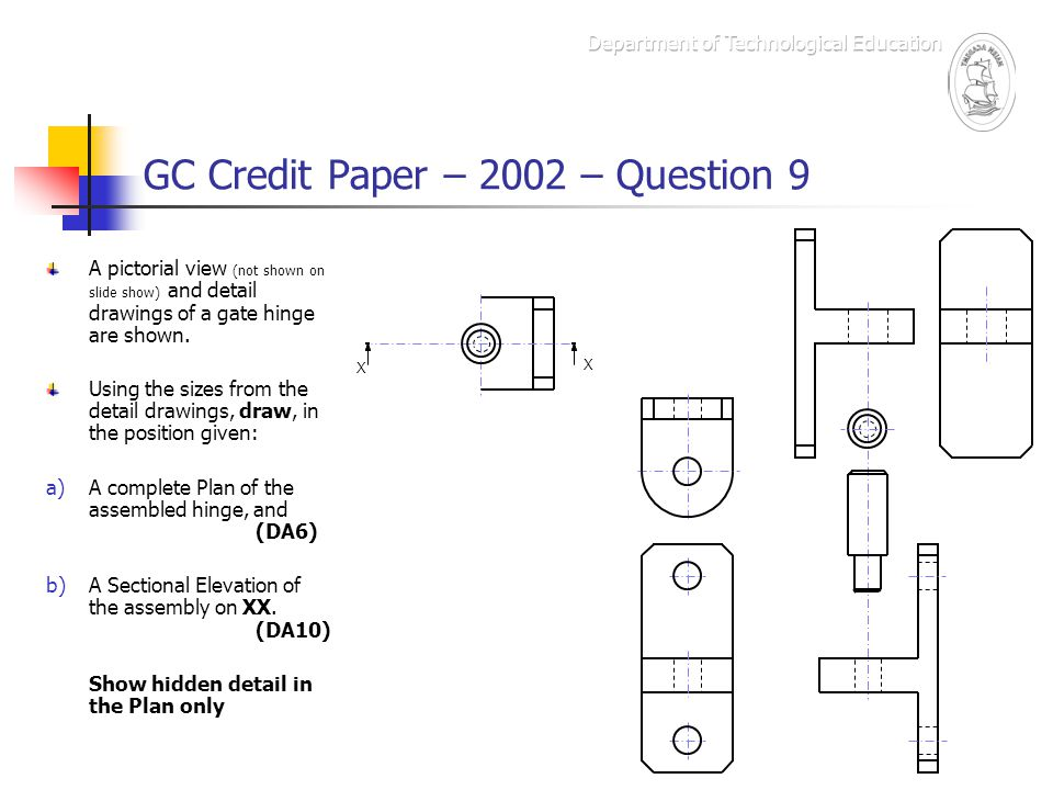 GC Credit Paper – 2002 – Question 9 The Marking Scheme – box d X X Vertical line showing correct width of upright on Plan.
