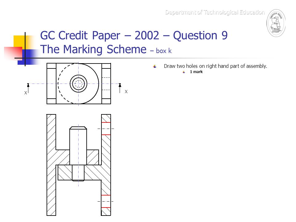 GC Credit Paper – 2002 – Question 9 The Marking Scheme – box k X X Draw two holes on right hand part of assembly. 1 mark