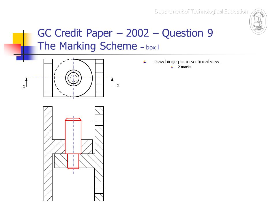 GC Credit Paper – 2002 – Question 9 The Marking Scheme – box l X X Draw hinge pin in sectional view. 2 marks