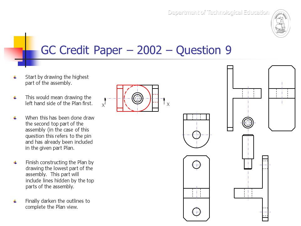 GC Credit Paper – 2002 – Question 9 The Marking Scheme – box e X X Draw two horizontal lines to show width of fillets on Plan.