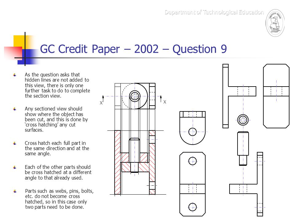 GC Credit Paper – 2002 – Question 9 The Marking Scheme – box i X X Draw vertical lines on right part of assembly on sectional view.