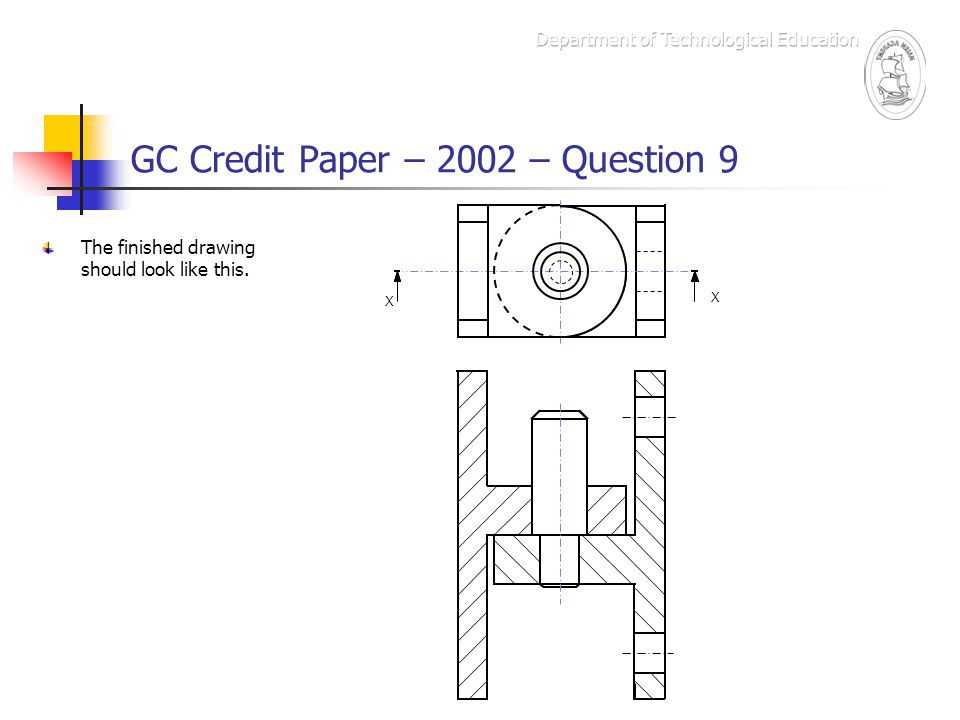 GC Credit Paper – 2002 – Question 9 This drawing was awarded 16 Drawing Ability marks.