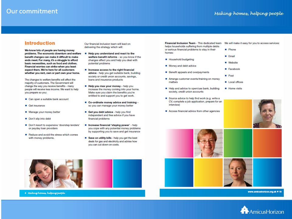 Making homes, helping people Communicating Welfare Reform Our mantra… Inform Educate Support