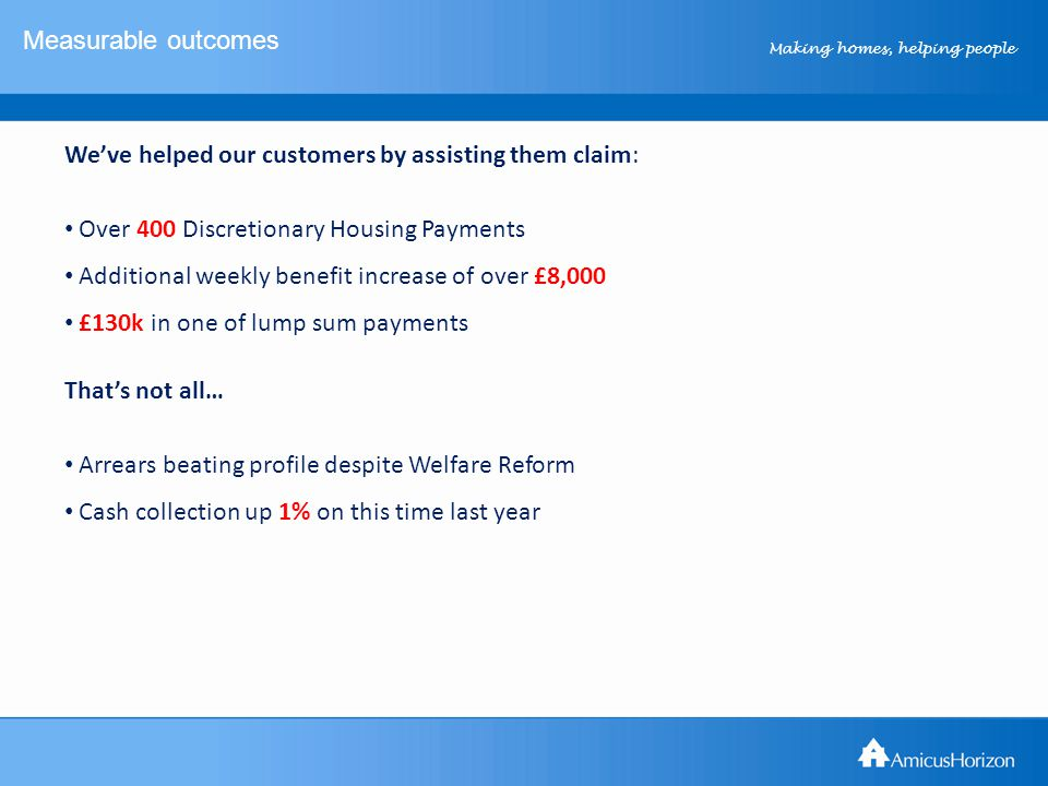 Making homes, helping people Measurable outcomes We've helped our customers by assisting them claim: Over 400 Discretionary Housing Payments Additional weekly benefit increase of over £8,000 £130k in one of lump sum payments That's not all… Arrears beating profile despite Welfare Reform Cash collection up 1% on this time last year