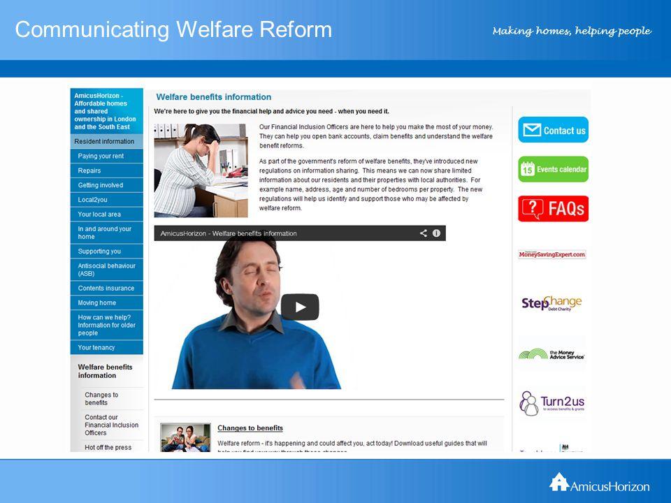 Making homes, helping people Communicating Welfare Reform