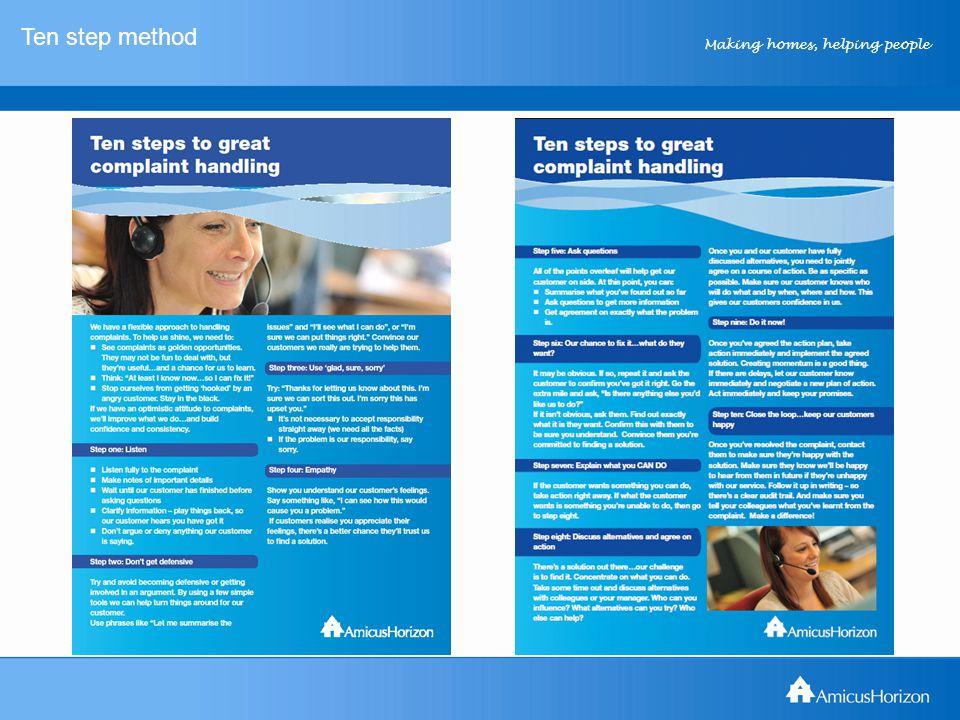 Making homes, helping people Ten step method