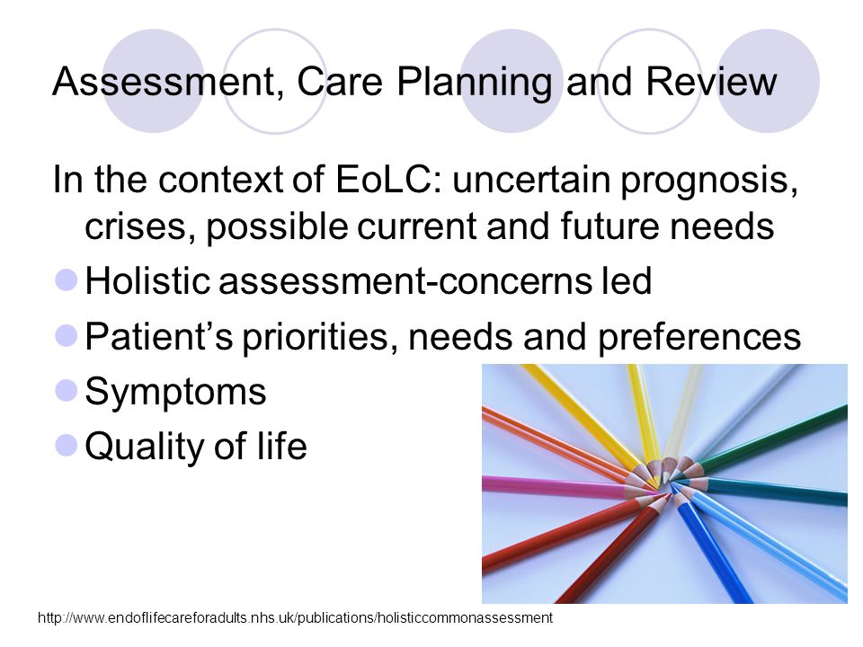 Assessment, Care Planning and Review In the context of EoLC: uncertain prognosis, crises, possible current and future needs Holistic assessment-concerns led Patient's priorities, needs and preferences Symptoms Quality of life http://www.endoflifecareforadults.nhs.uk/publications/holisticcommonassessment