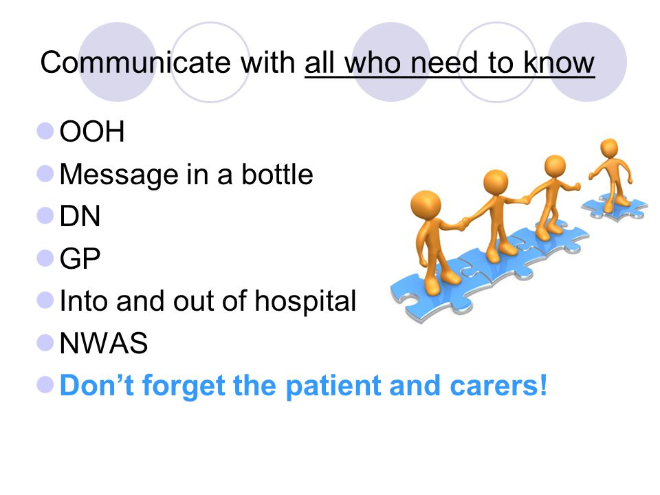 Communicate with all who need to know OOH Message in a bottle DN GP Into and out of hospital NWAS Don't forget the patient and carers!