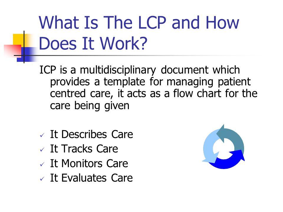 What Is The LCP and How Does It Work? ICP is a multidisciplinary document which provides a template for managing patient centred care, it acts as a fl