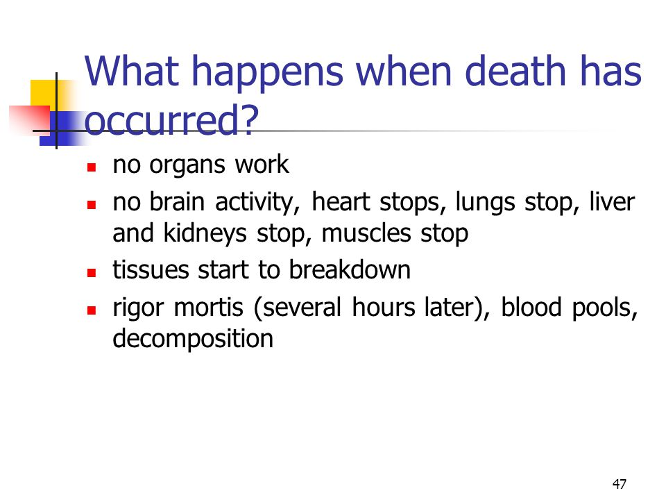 47 What happens when death has occurred? no organs work no brain activity, heart stops, lungs stop, liver and kidneys stop, muscles stop tissues start