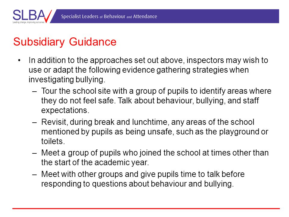 Subsidiary Guidance In addition to the approaches set out above, inspectors may wish to use or adapt the following evidence gathering strategies when investigating bullying.